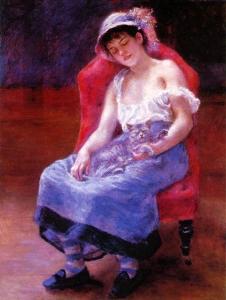 La jeune fille au chat (A. Renoir, 1880)
