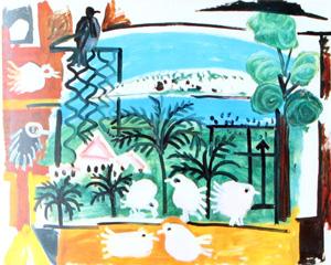 Pigeons dans un paysage (P. Picasso, 1957)