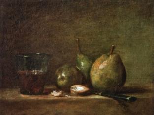 chardin poire noix verre de vin