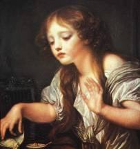Jeune fille pleurant la mort de son-oiseau(Greuze,1759)